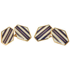 Navy and White Enamel Gold Cufflinks