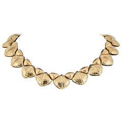 French Hammered Gold Collar Necklace