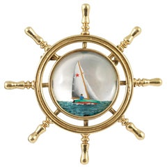 Edwardian Essex Crystal Gold Yacht Pin Brooch