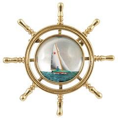 Edwardian Essex Crystal Gold Yacht Pin Brooch