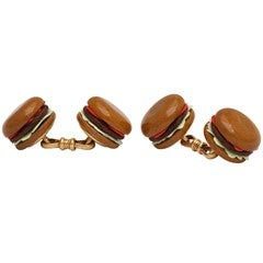 French Hand Carved Agate Hamburger Cuff Links