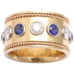1950s Sapphire Diamond Gold Wide Eternity Band