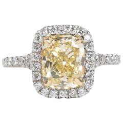 GIA Cert 2.50 Carat Yellow Diamond Platinum Engagement Ring
