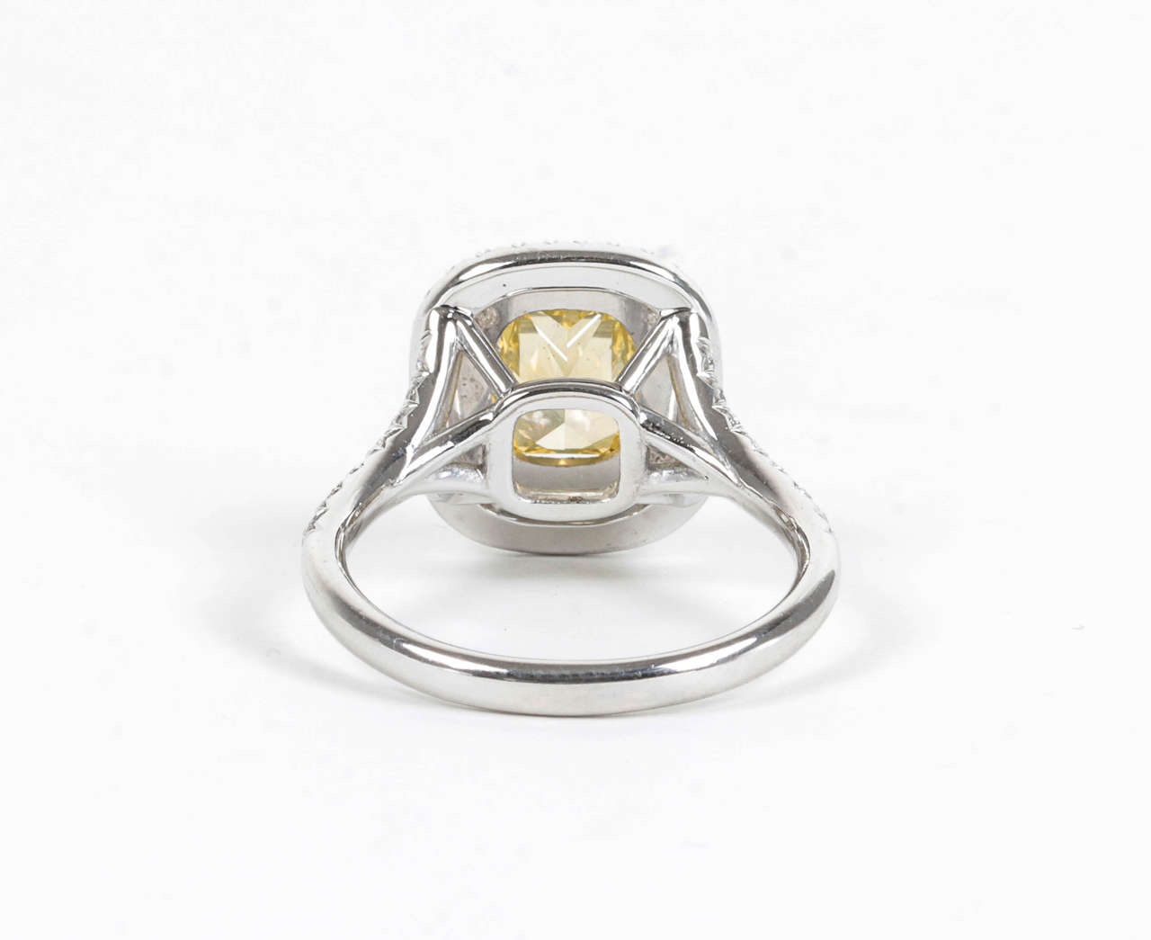 Rare Cushion Cut GIA Certified Vivid Yellow and White Diamond Platinum Ring For Sale 1
