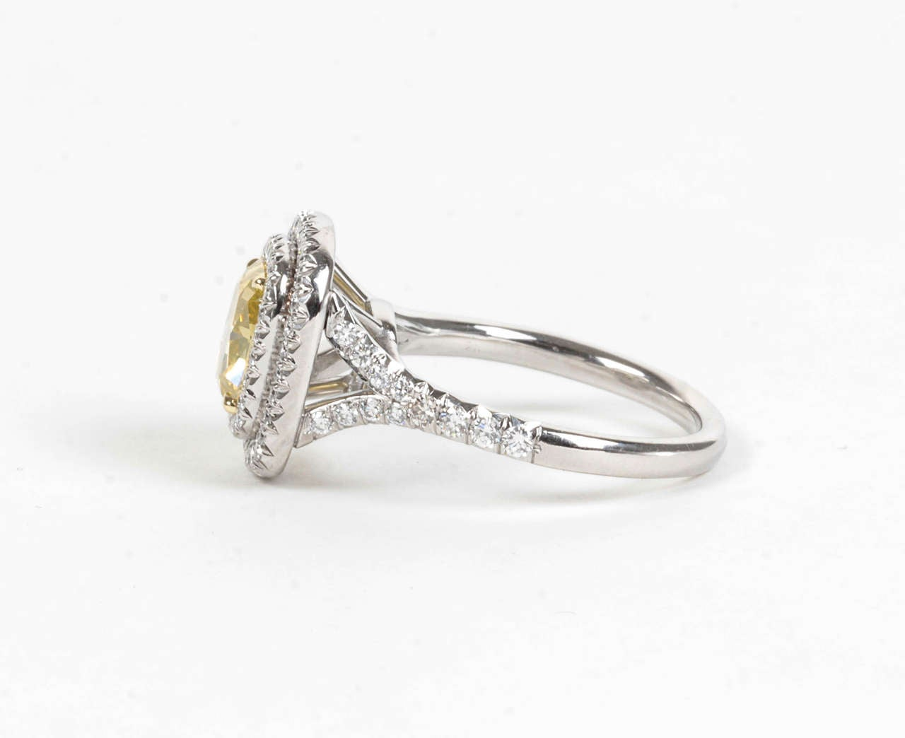 Rare Cushion Cut GIA Certified Vivid Yellow and White Diamond Platinum Ring For Sale 2