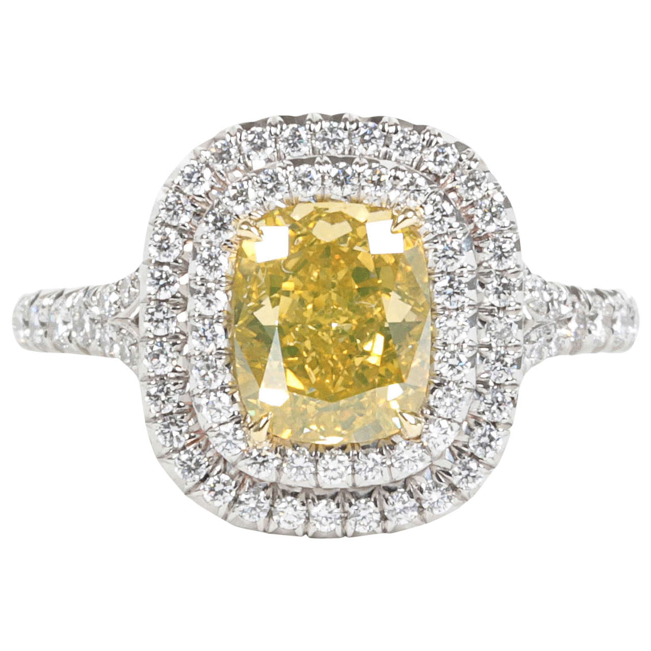 Rare Cushion Cut GIA Certified Vivid Yellow and White Diamond Platinum Ring For Sale