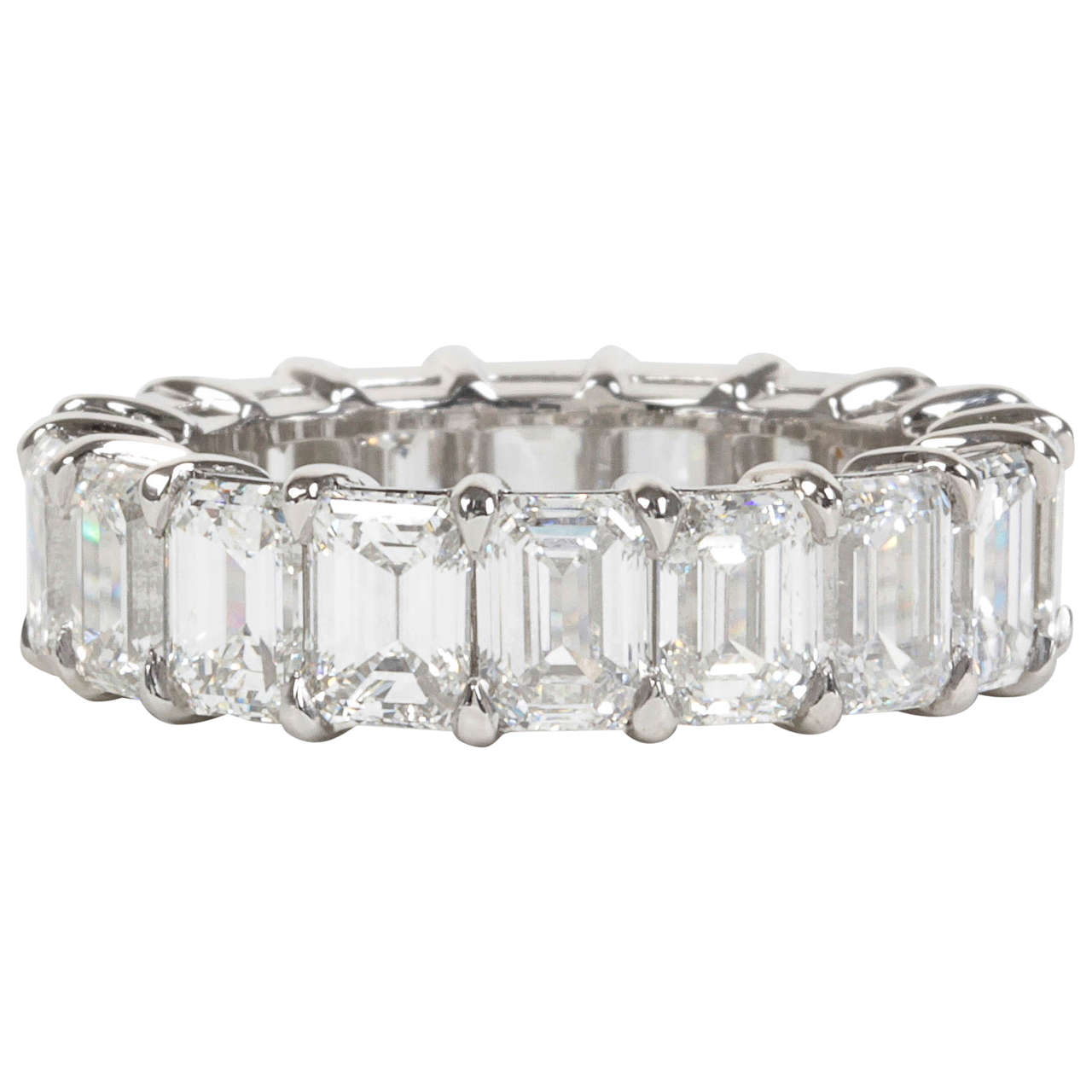 9 Carat Emerald Cut Diamond Platinum Eternity Band For Sale
