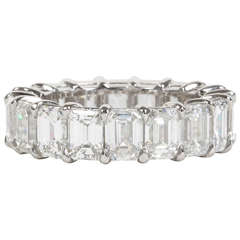 9 Carat Emerald Cut Diamond Platinum Eternity Band