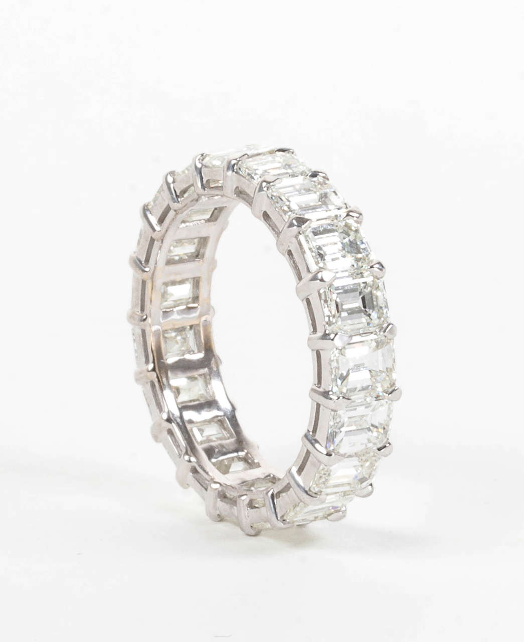 Women's Emerald Cut Diamond Gold Eternity Band