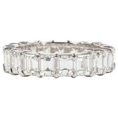 Emerald Cut Diamond Gold Eternity Band