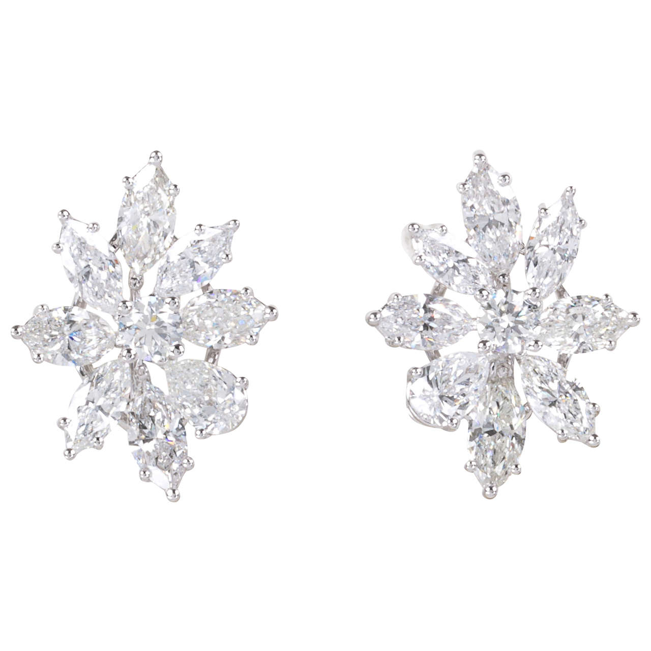 Classic Diamond Gold Cluster Earrings