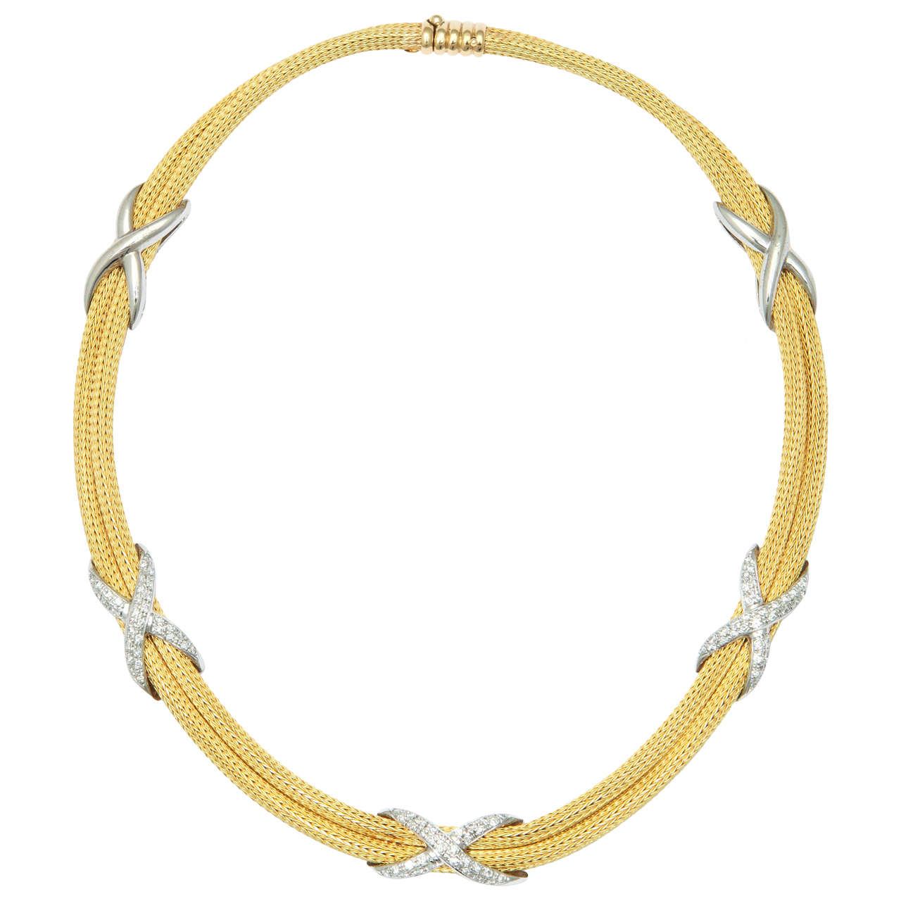 Woven Gold Necklace with Diamond Criss Cross Adornments at 1stdibs