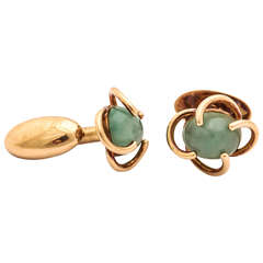 Antonio Pineda Green Beryl & Gold Cufflinks
