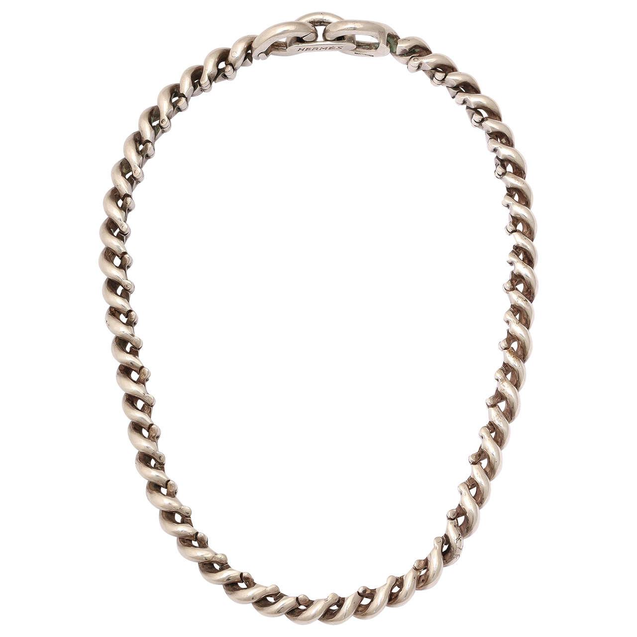 Torsade Necklace: Hermes Torsade Silver Necklace At 1stdibs
