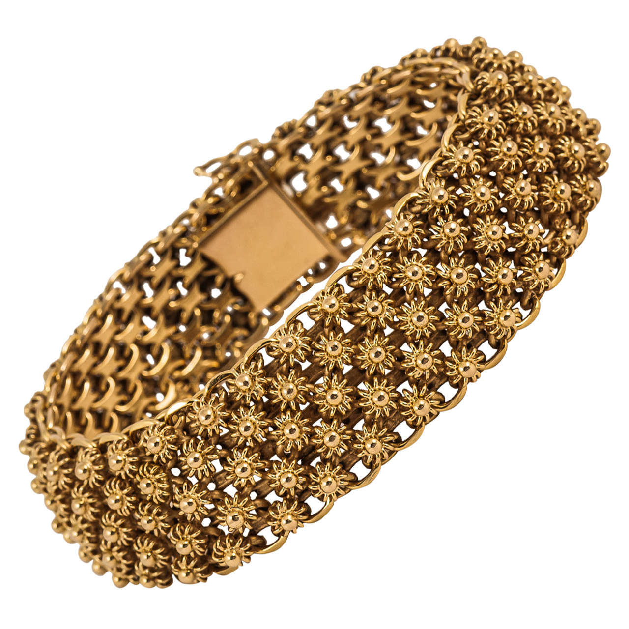 Wide Heavy French Gold Bracelet at 1stdibs