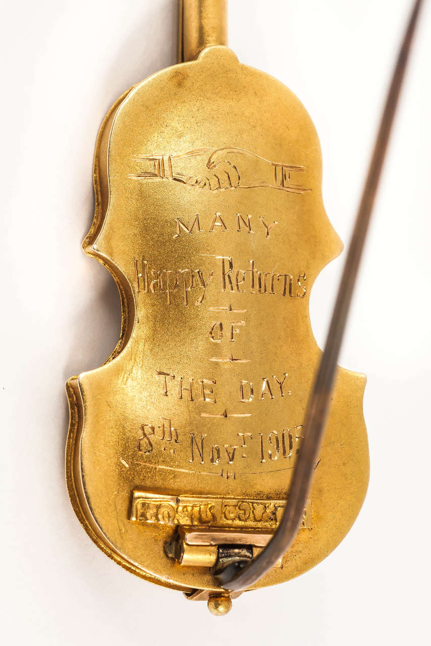 Late 19th Century Gold Violin Brooch 6