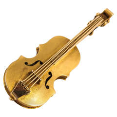 Late 19th Century Gold Violin Brooch