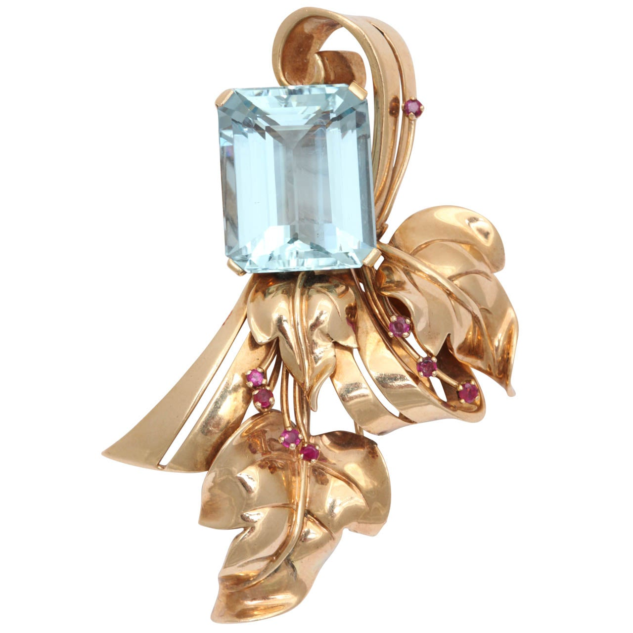 Retro Aquamarine & Ruby Brooch
