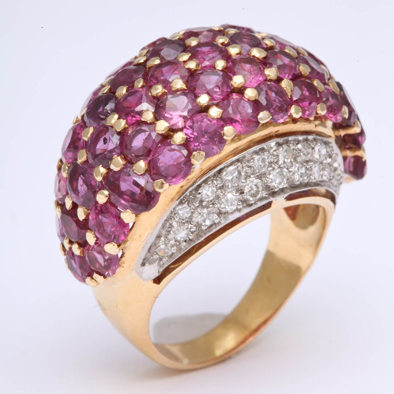 Women's Burmese Ruby & Diamond Ring For Sale