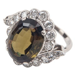 Andalusite Diamond Platinum and Gold Ring