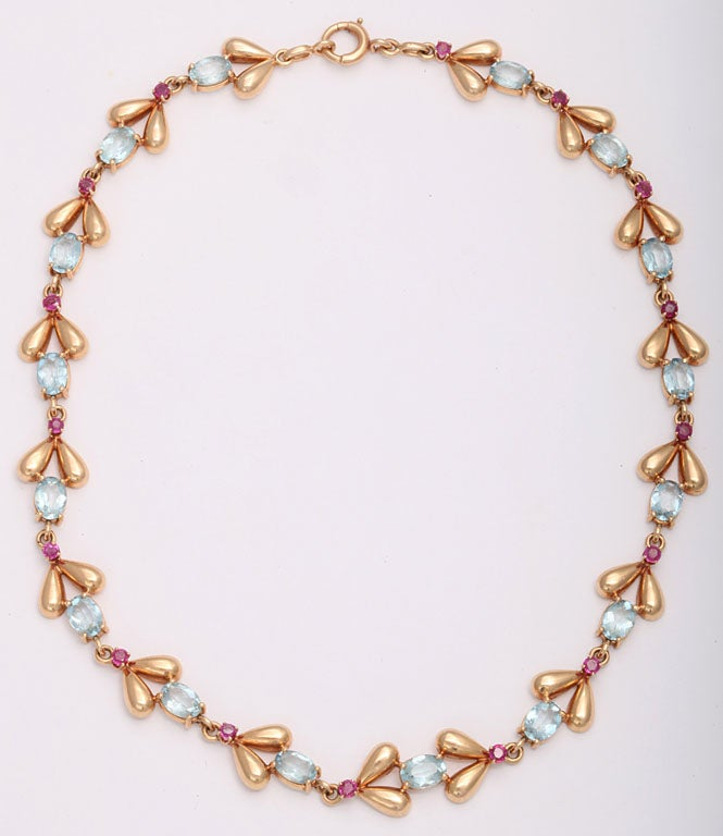 1940s Tiffany & Co. Retro Ruby Aquamarine Gold Necklace 2