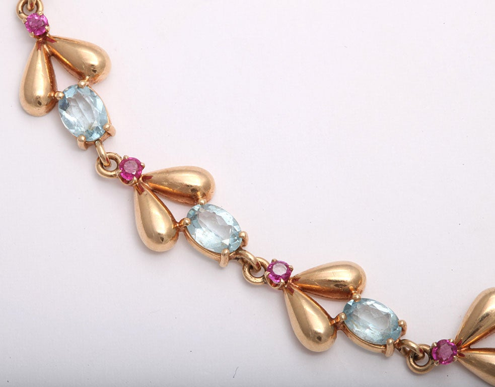 1940s Tiffany & Co. Retro Ruby Aquamarine Gold Necklace 3