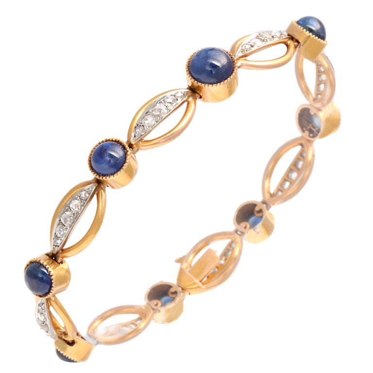 Victorian Rose Cut Diamond and Cabochon Sapphire Gold Bracelet