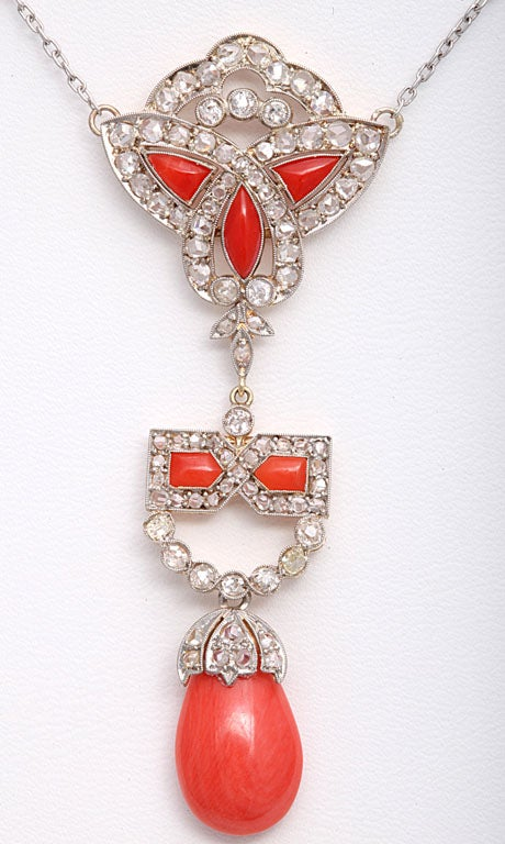 Art Deco Coral and Diamond Drop Pendant Necklace on Diamond Chain 2