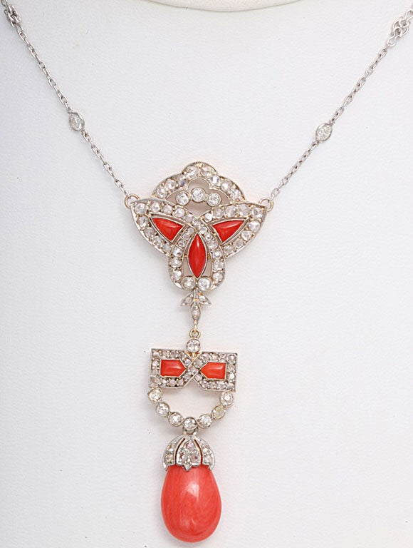 Art Deco Coral and Diamond Drop Pendant Necklace on Diamond Chain 3