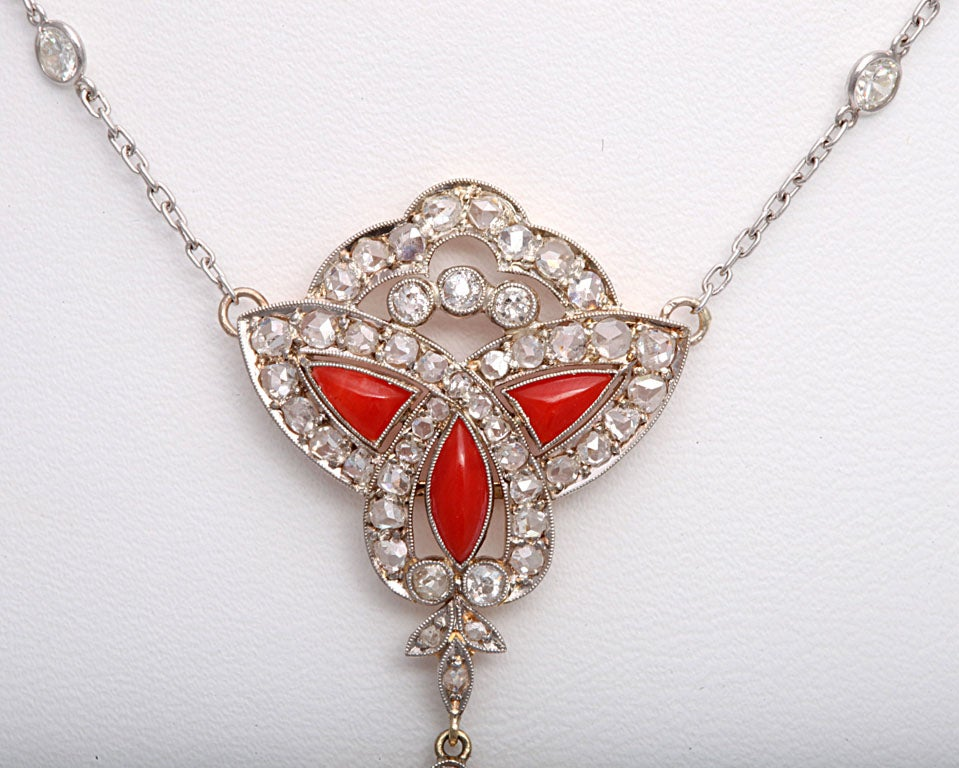 Art Deco Coral and Diamond Drop Pendant Necklace on Diamond Chain 4
