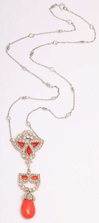 Art Deco Coral and Diamond Drop Pendant Necklace on Diamond Chain 5