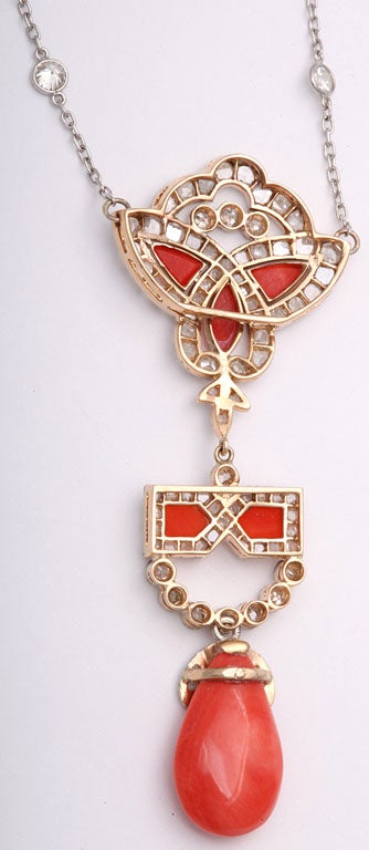 Art Deco Coral and Diamond Drop Pendant Necklace on Diamond Chain 6