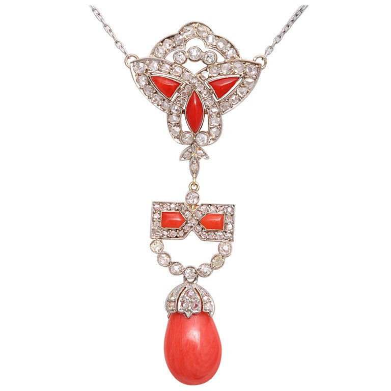 Art Deco Coral and Diamond Drop Pendant Necklace on Diamond Chain