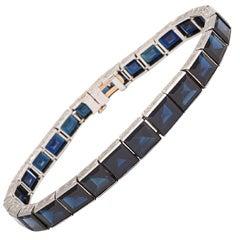 Incredible Art Deco Sapphire Platinum Straight Line Bracelet