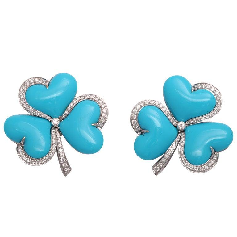 Impressive Turquoise Diamond Gold Clover Earrings