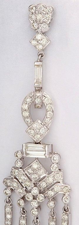 Women's Dangling Diamond Gold Chandelier Earrings For Sale