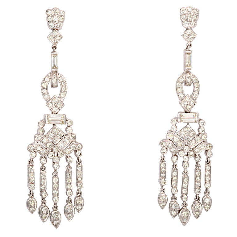 Dangling Diamond Gold Chandelier Earrings