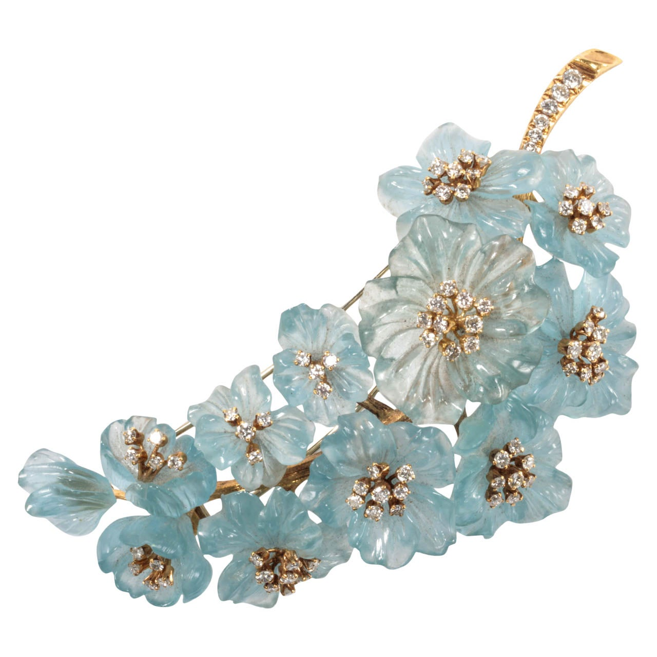Carved Aquamarine Diamond Gold Flower Pin At 1stdibs