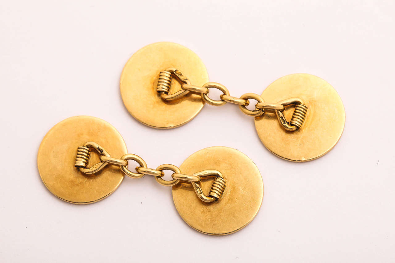 French Art Deco Red Enamel Gold Cufflinks In New Condition For Sale In New York, NY