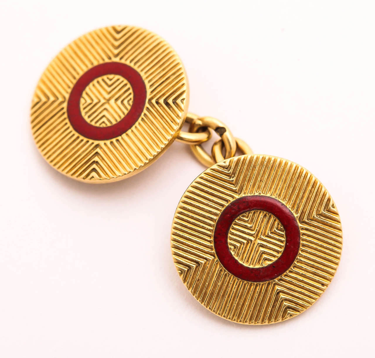 Men's French Art Deco Red Enamel Gold Cufflinks For Sale