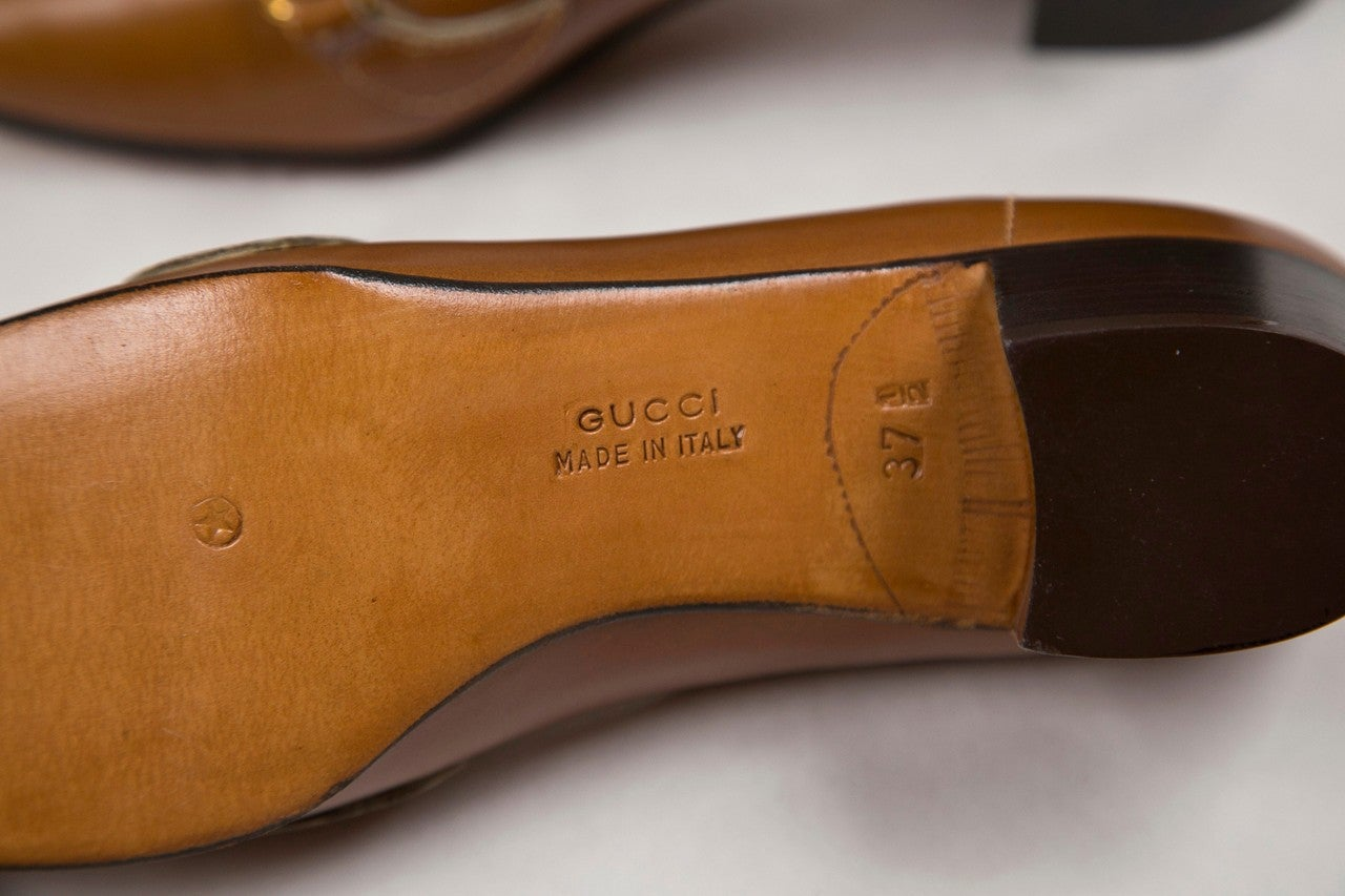 never worn gucci shoes with enamel & brass hardware 6