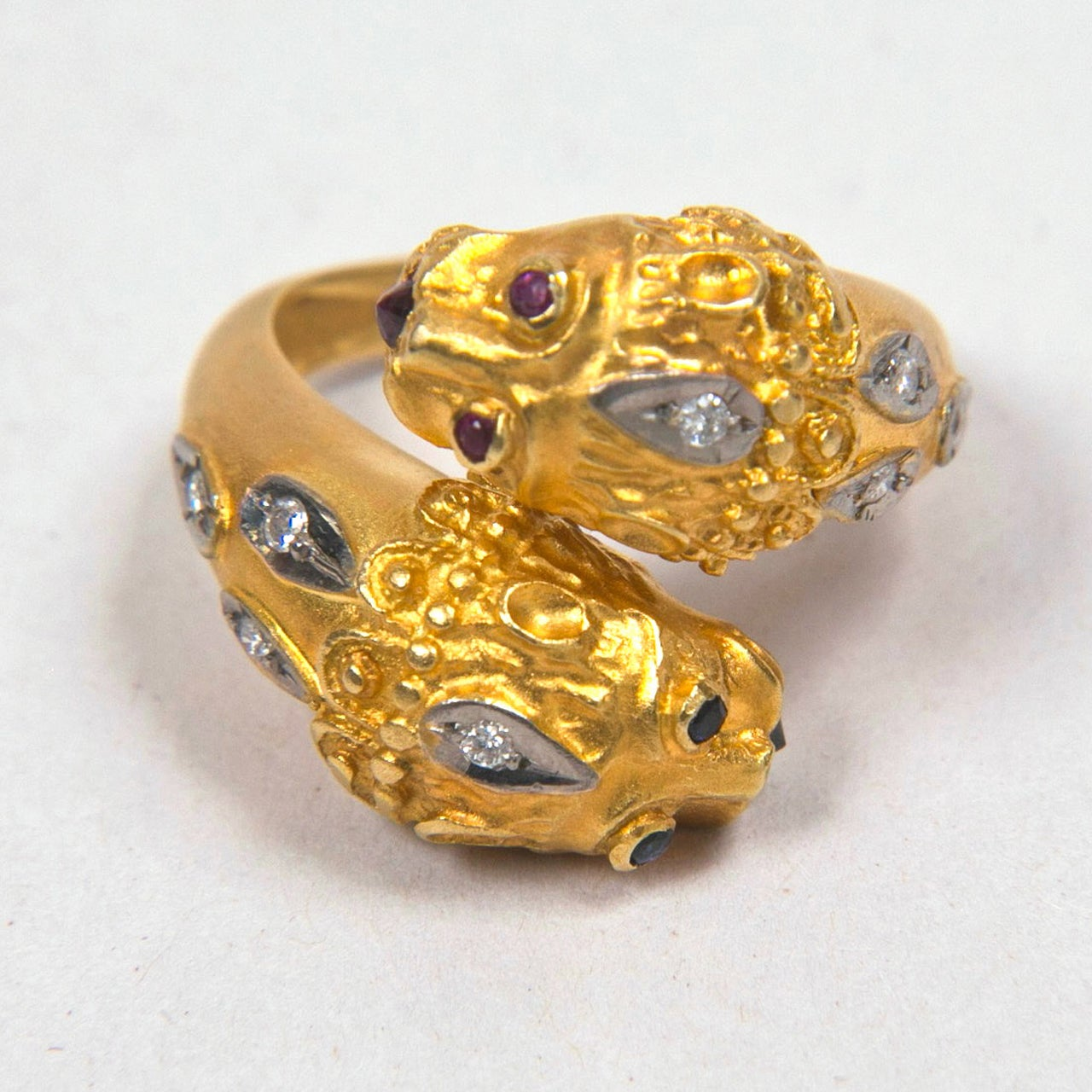 1960's Hand Made Double Lion 18K Gold Ring With Diamonds, Rubies,
