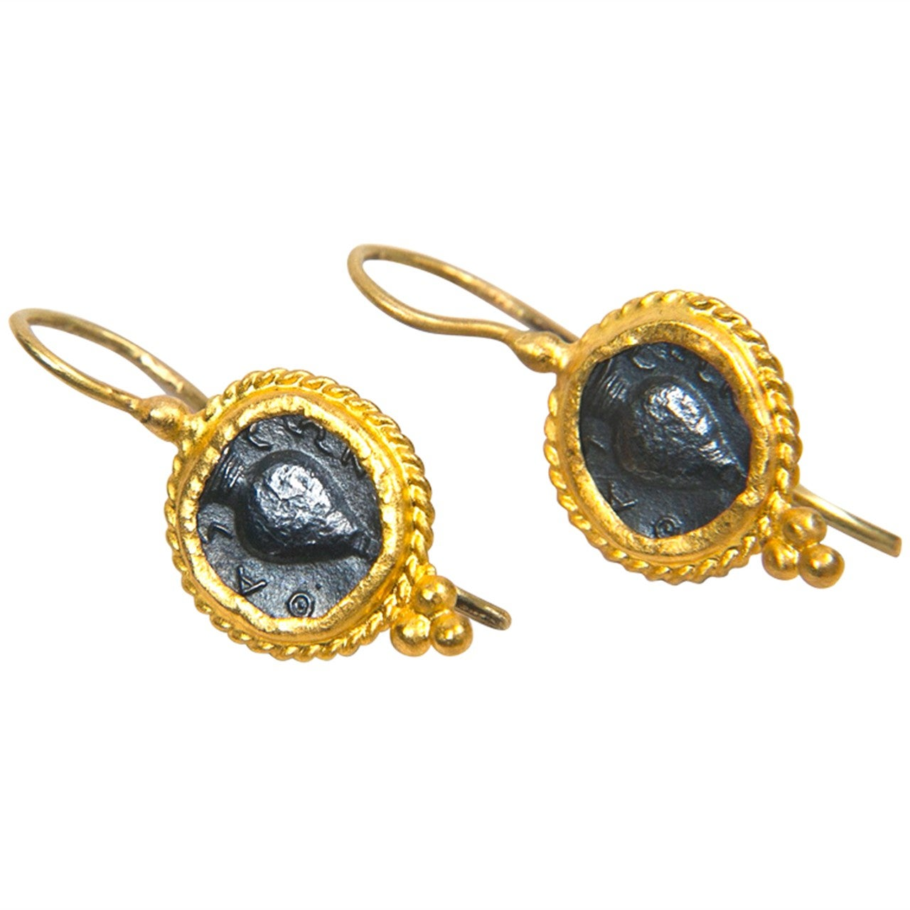 Pair of Ancient Roman Coin 24kt Gold Earrings at 1stdibs