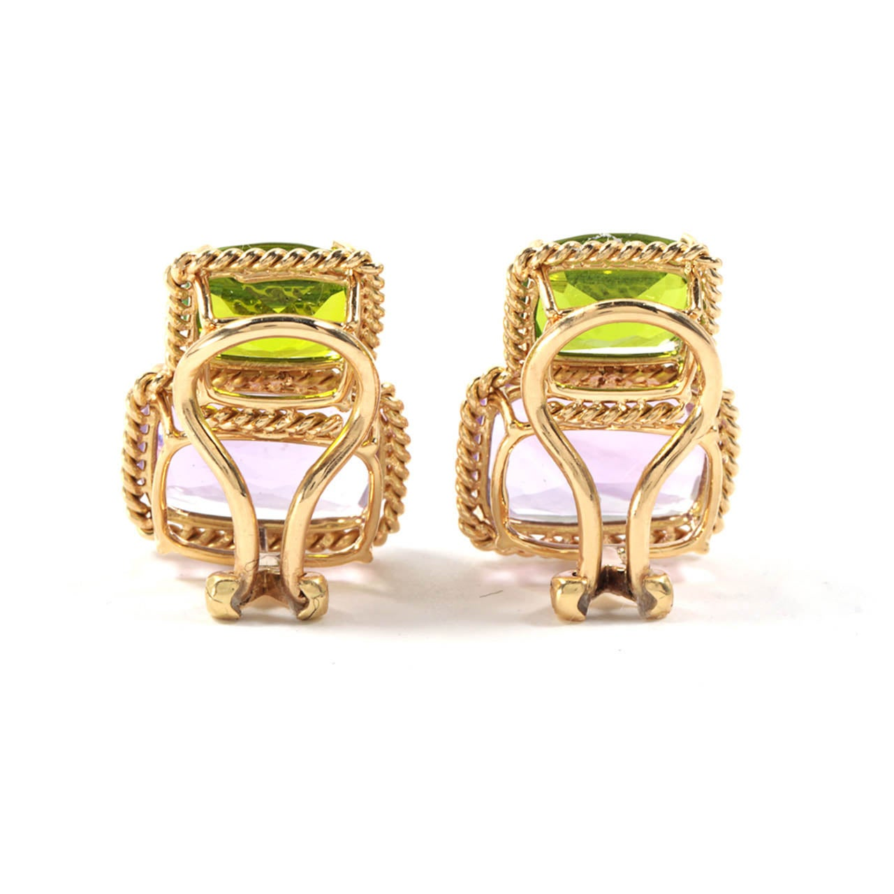 Yellow Gold Two Stone Earring with Rope Twist Border - medium size 2