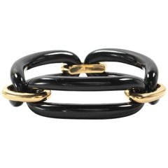 Yellow Gold and Onyx Link Bracelet