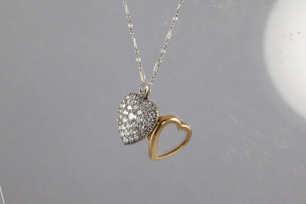 Victorian Diamond Silver Gold Heart Locket For Sale 1