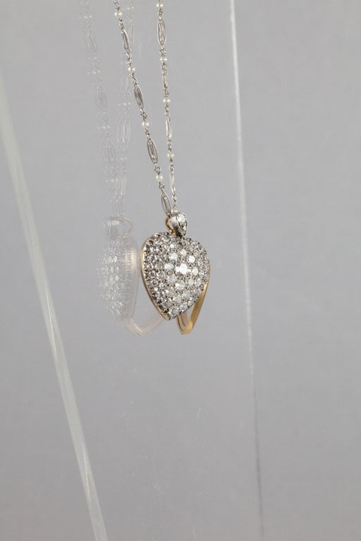 Victorian Diamond Silver Gold Heart Locket For Sale 2