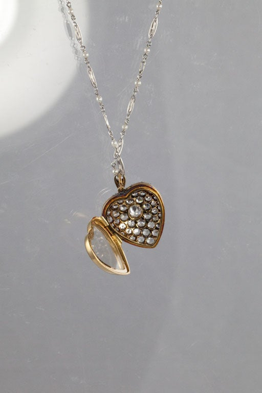 Victorian Diamond Silver Gold Heart Locket For Sale 3