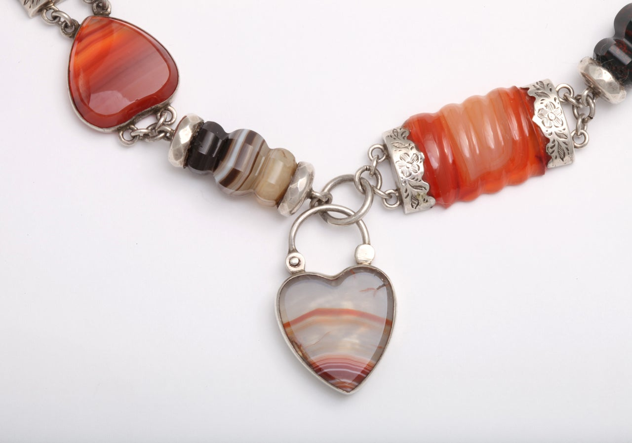 Victorian Scottish Agate Neclace In Excellent Condition For Sale In Hastings on Hudson, NY
