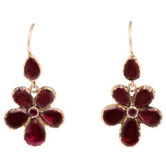 Thinking of You. Georgian Garnet Forget-Me Not Earrings